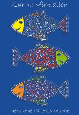 Konfirmation - bunte Fische auf blauem Grund, Illustration