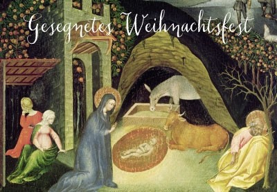 Weihnachten - Christkind in Krippe, Illustration