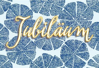 Jubiläum - Stempel, blau, Illustration