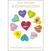 Kommunion - Symbole in Herzen, illustriert
