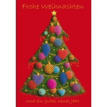 Weihnachten - Christbaum, bunte Kugeln, Illustration